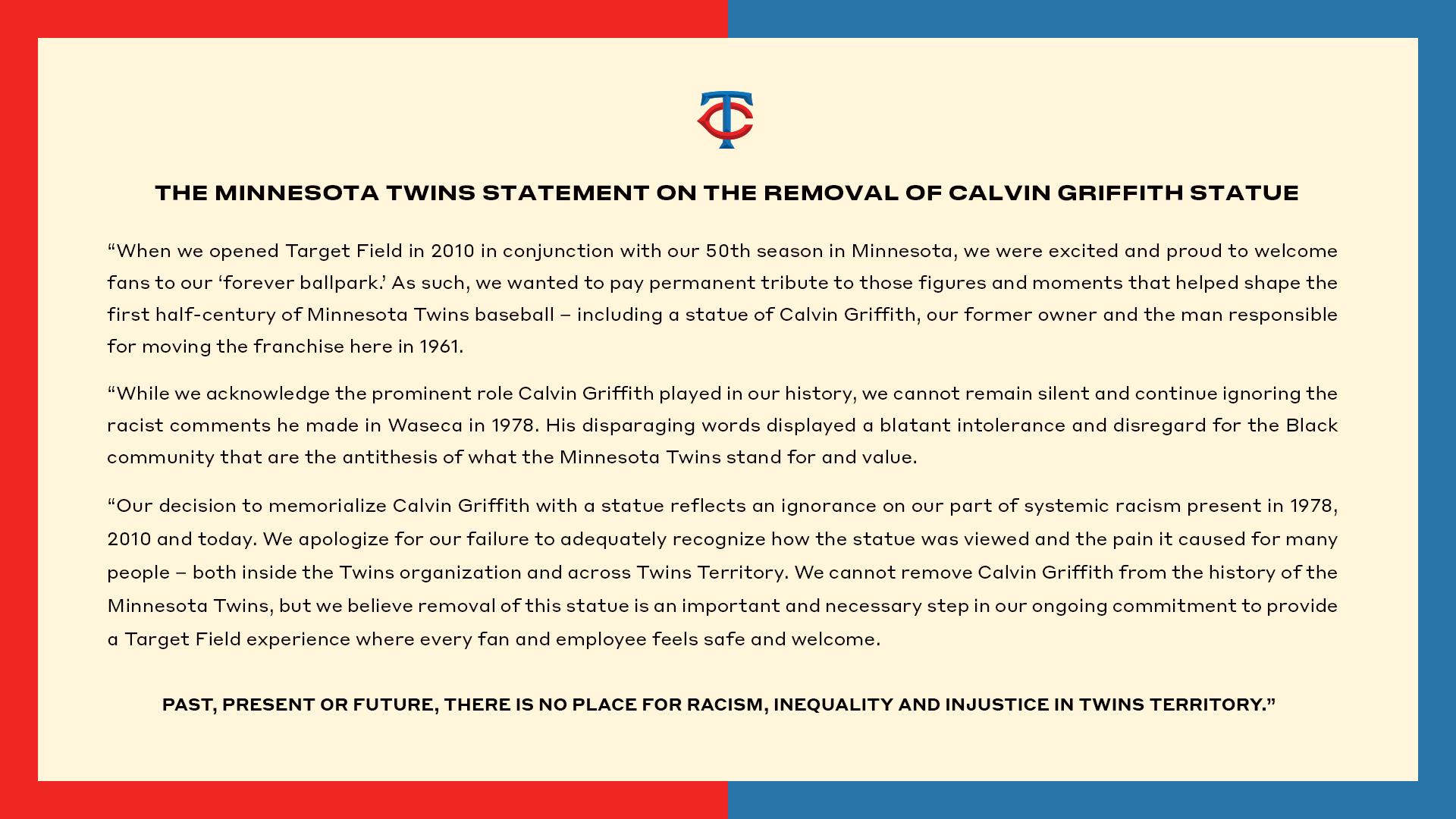 Twins Remove Calvin Griffith Statue - Minnesota Twins