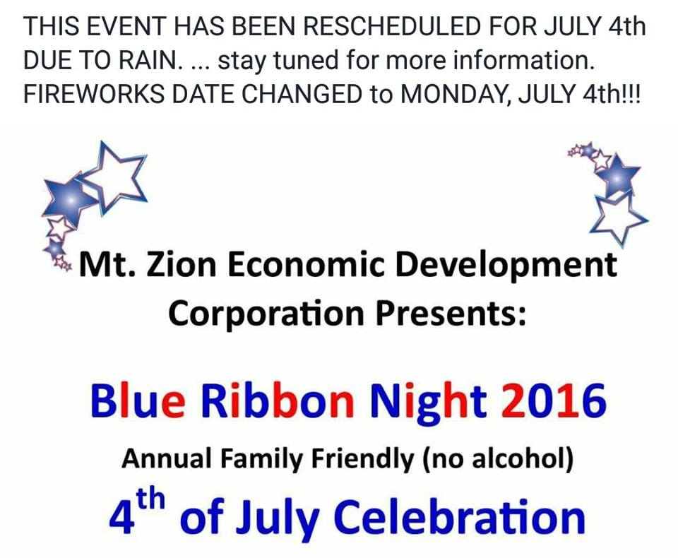 Mt. Zion Blue Ribbon Night Celebration Moved to Monday, July 4th