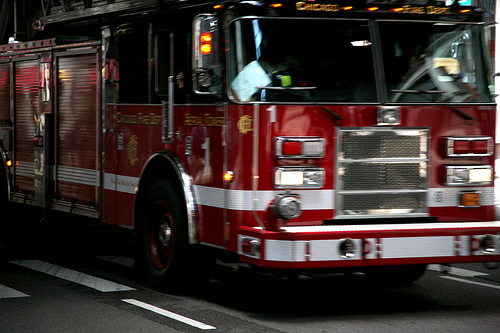 Fire Truck Catches Fire On I-74