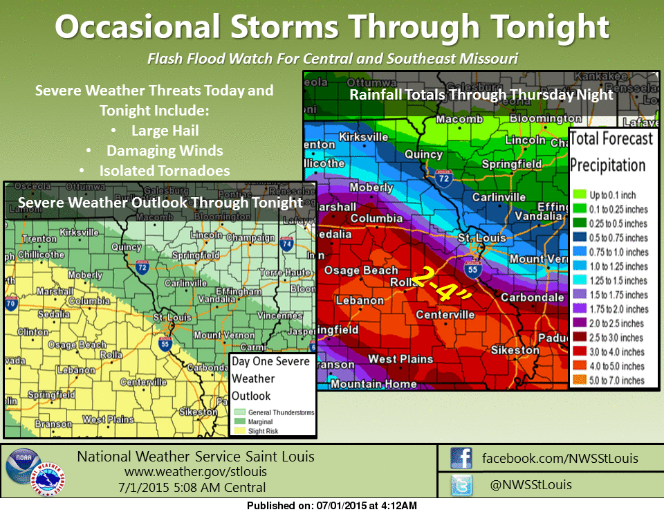 Storms, possibly some severe, over the area this afternoon and tonight