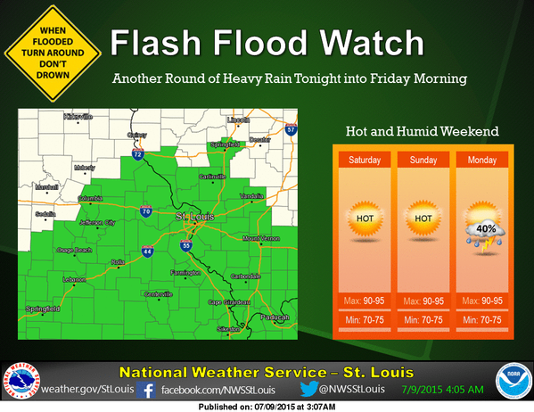 Flash Flood Watch tonight into Friday morning, one more round of heavy rain before heat