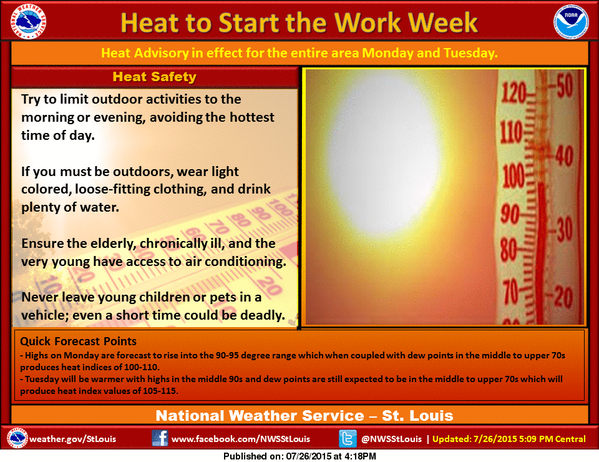 Heat Advisory from noon today until 9 pm Tuesday