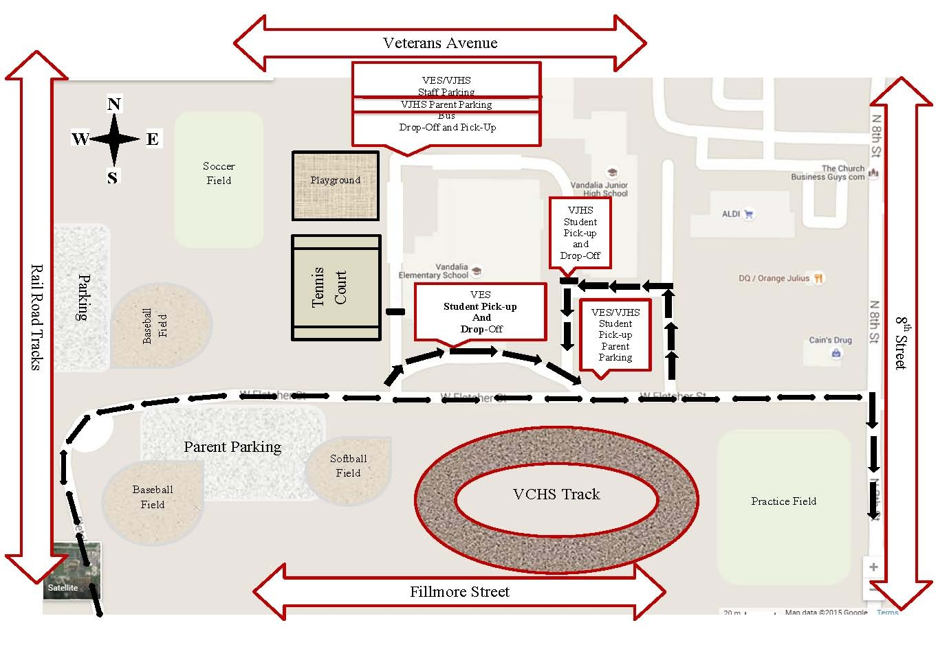 Vandalia Schools Traffic Flow Map for PreK-8th grade area