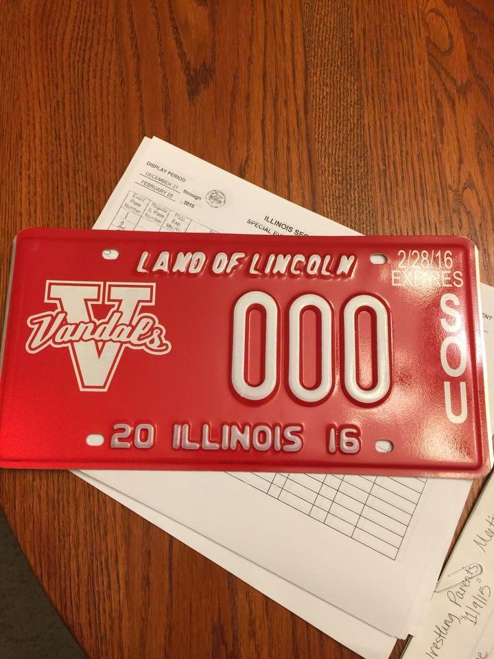 Vandals wrestling parents selling Vandals License Plates