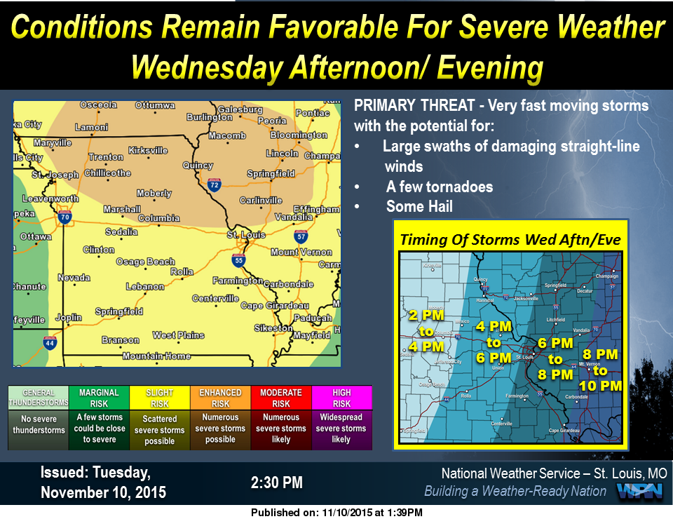 Latest map from National Weather Service on severe weather risk