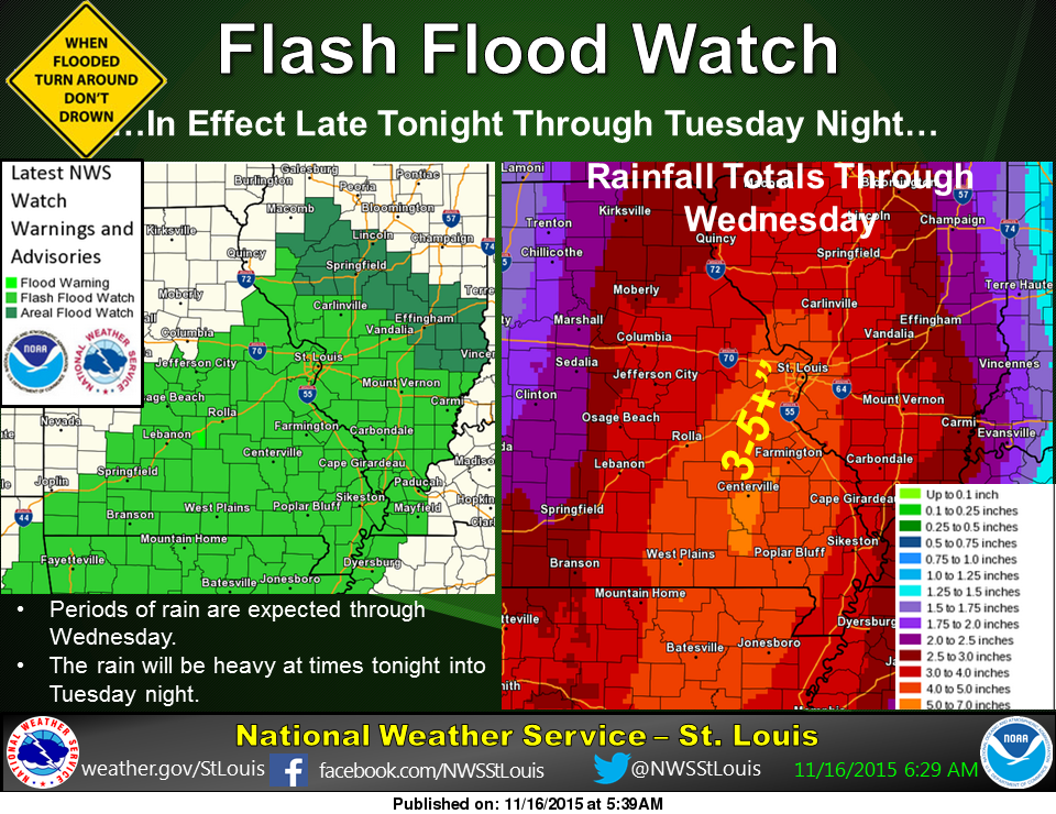 Flash Flood Watch continues--rain today and tonight