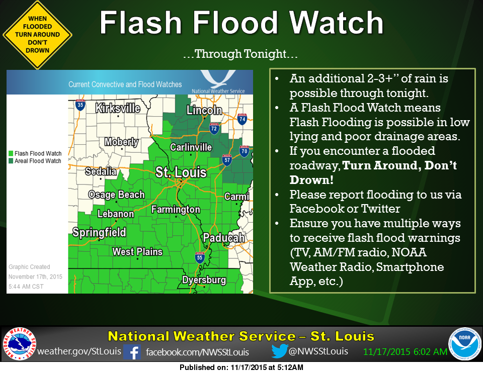Flash Flood Watch Continues--NWS says 2 to 3 more inches of rain possible