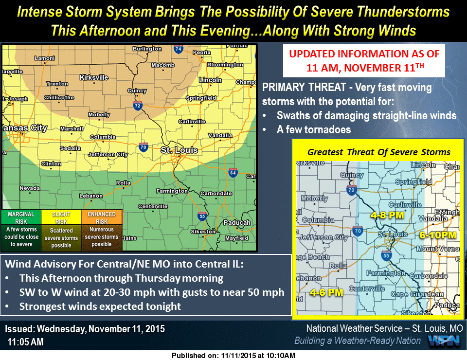 Latest info from National Weather Service on potential for severe storms