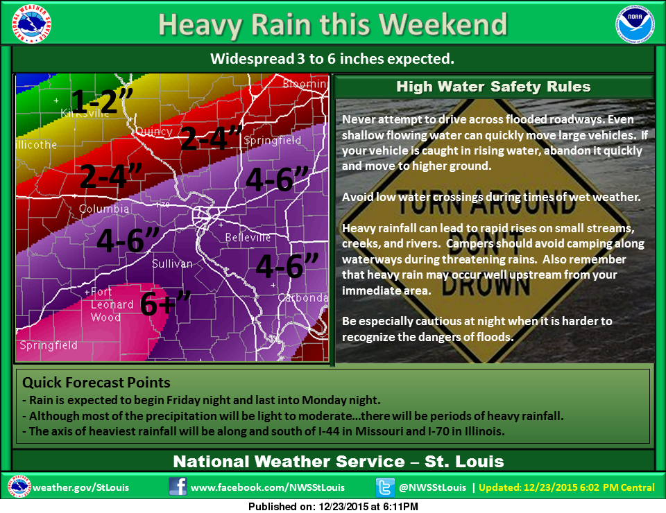 Several inches of rain on the way for the area beginning Christmas night