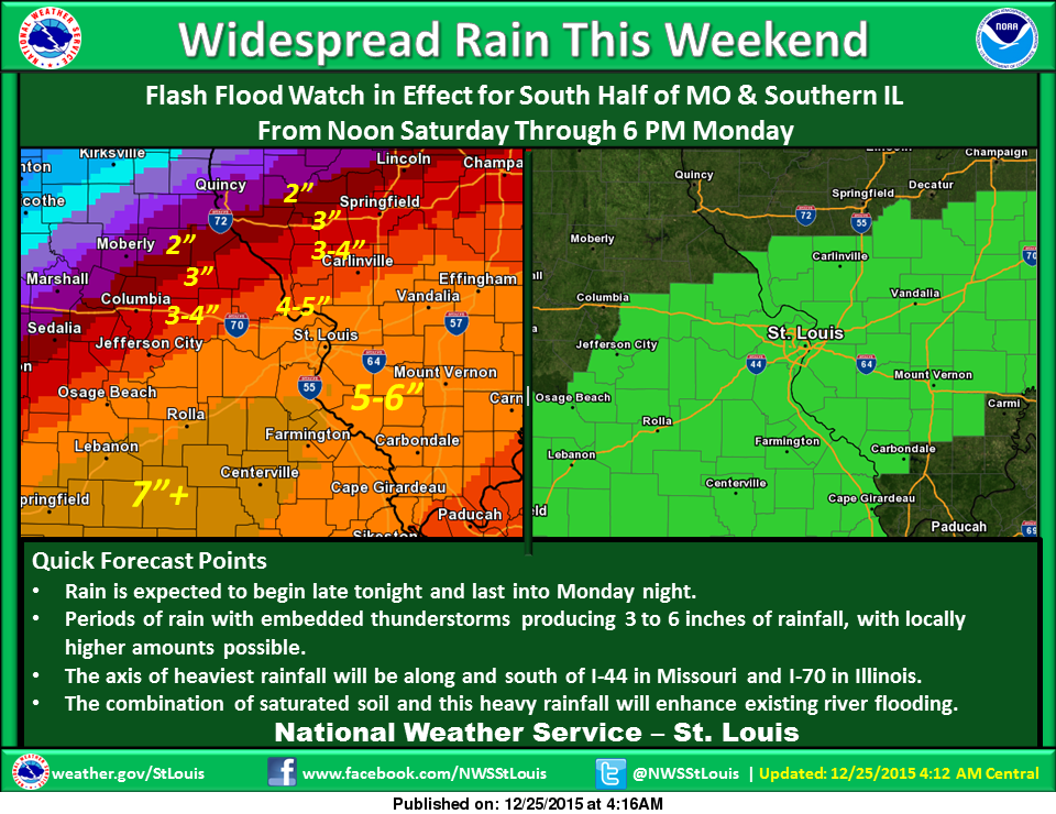 Flash Flood Watch for area from Saturday afternoon thru Monday afternoon