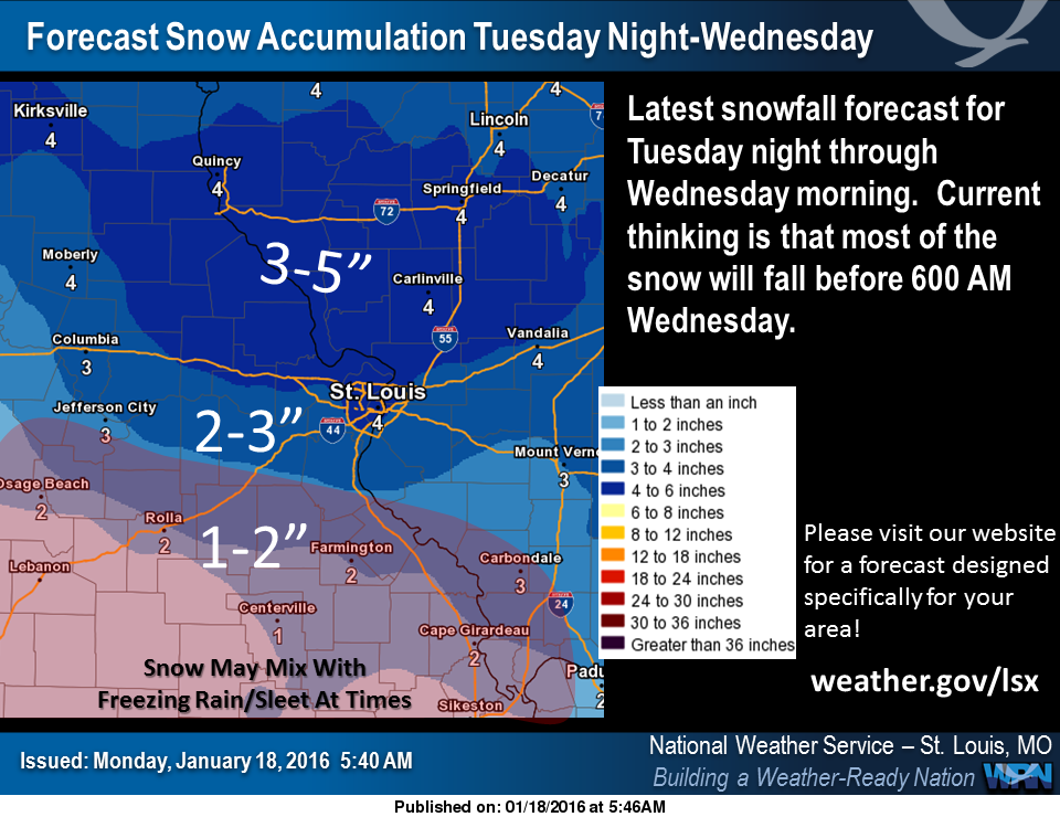 NWS in St. Louis latest snowfall predictions for Tues night/Wed morning