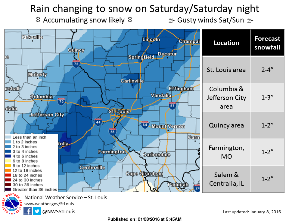 Snow on the way for Saturday evening/night