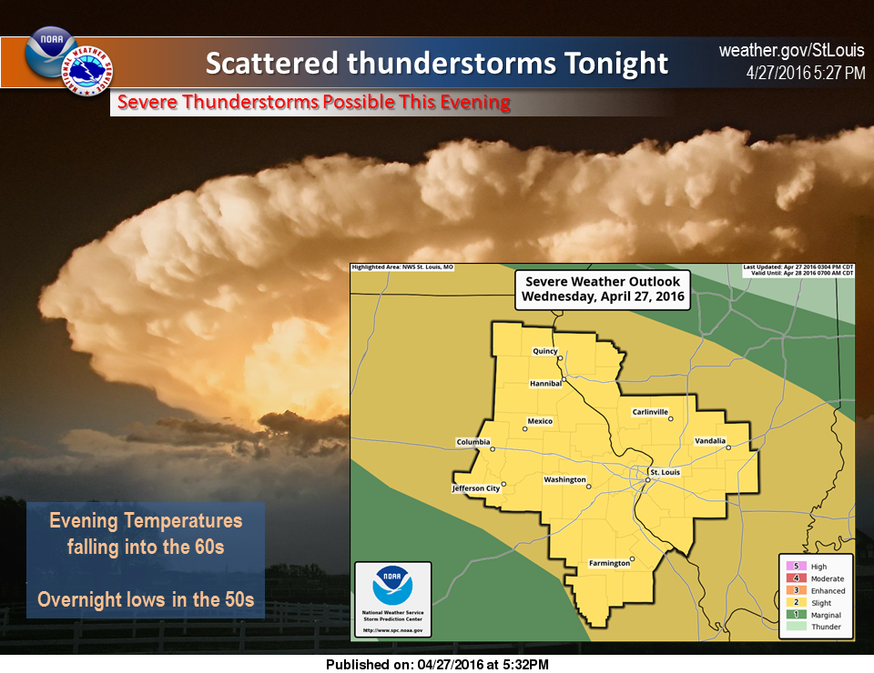 NWS in St. Louis says Severe Weather remains possible for tonight