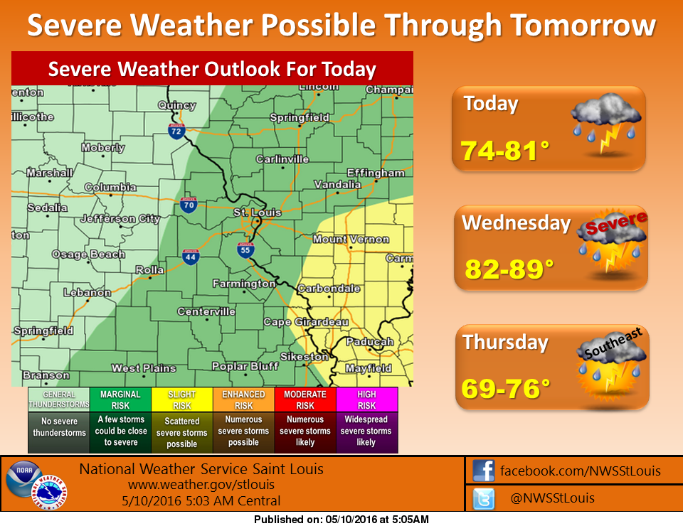 Another chance of severe storms today, looks to be bigger chance on Wednesday
