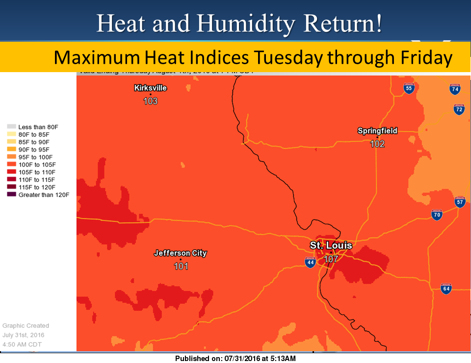 Heat and Humidity back in area Tuesday thru Friday