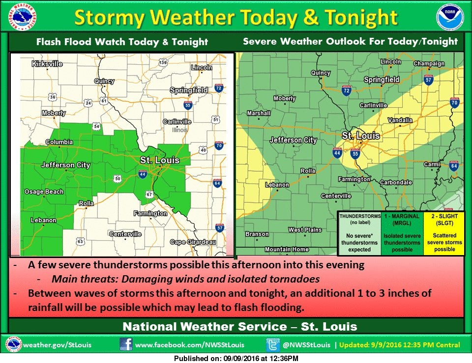 Latest update from NWS---shows severe storm chance increasing for our area tonight