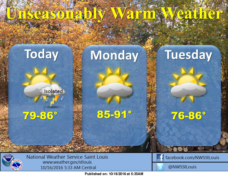 Warm today and heading into start of the work week
