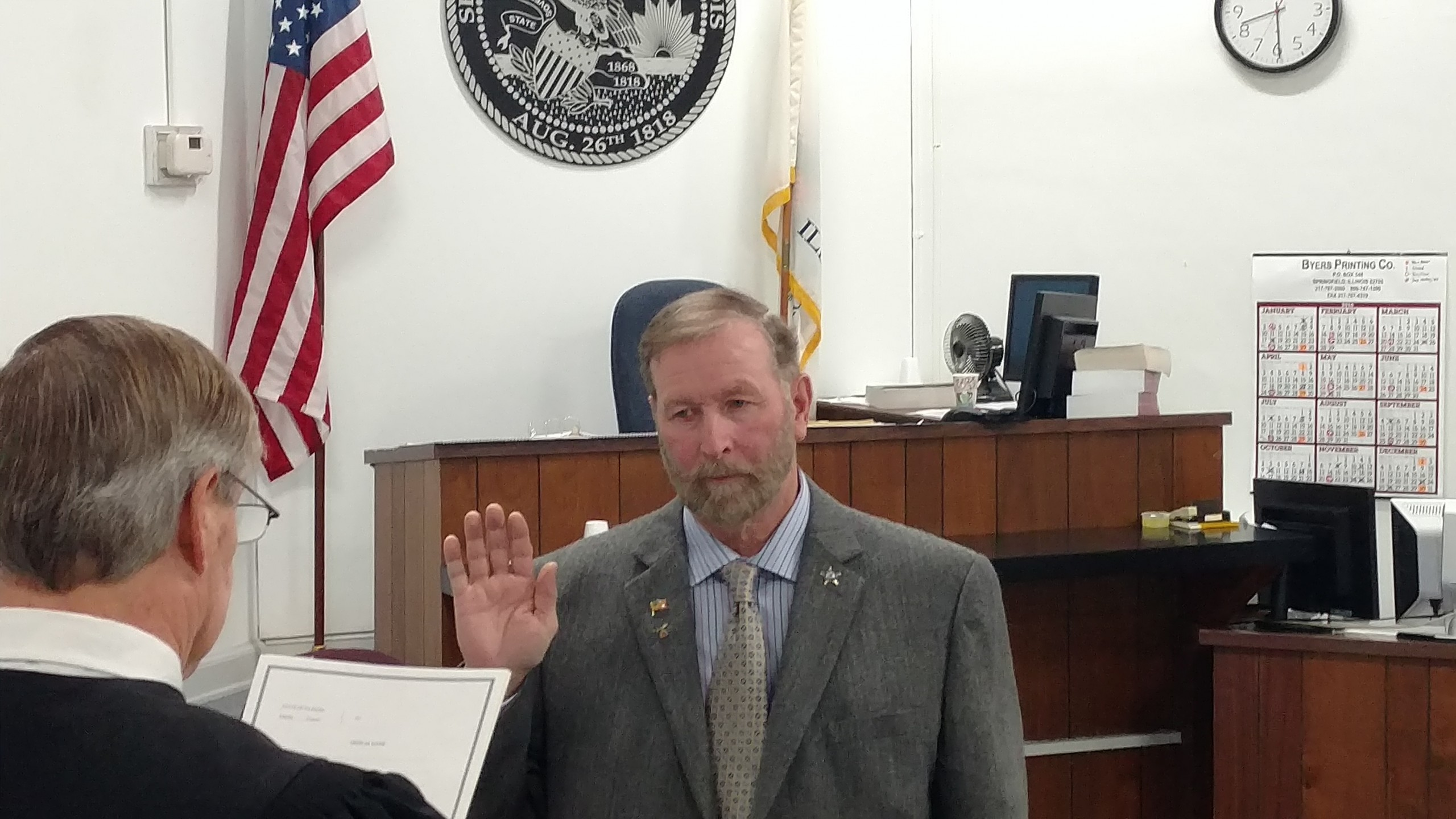 Bruce Bowen sworn in for 5th term as Fayette County Coroner