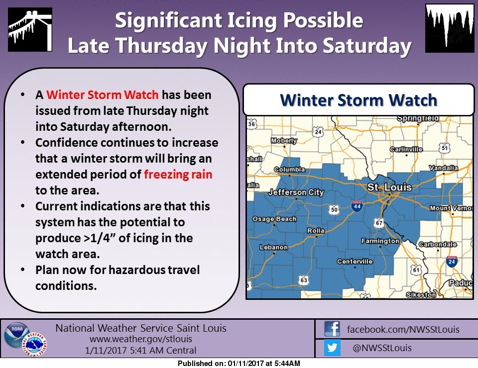 Some area counties under a Winter Storm Watch beginning 12a Friday--Fayette Co not included at this time