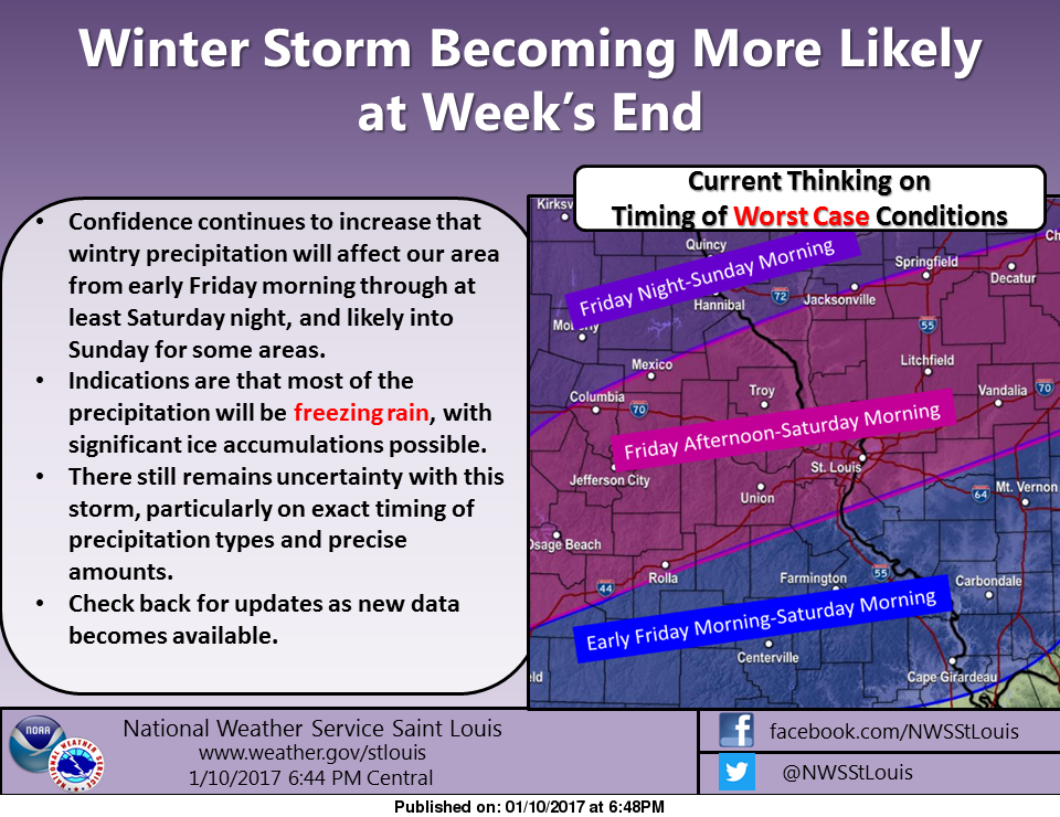 Weekend forecast shows chance of freezing rain from Friday afternoon thru Sunday morning