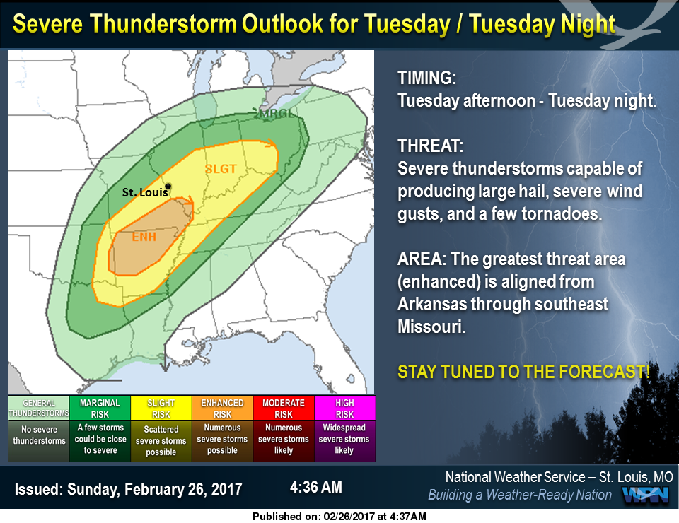Warmer today and tomorrow, potential for severe storms on Tuesday night