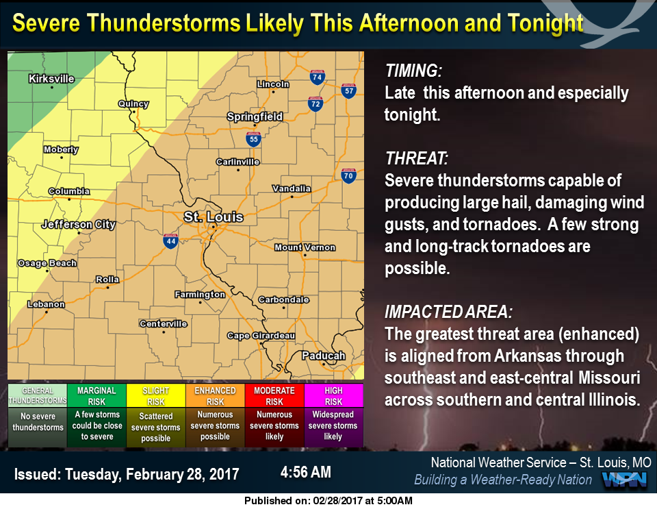 NWS warns of threat of severe storms over area this afternoon & tonight