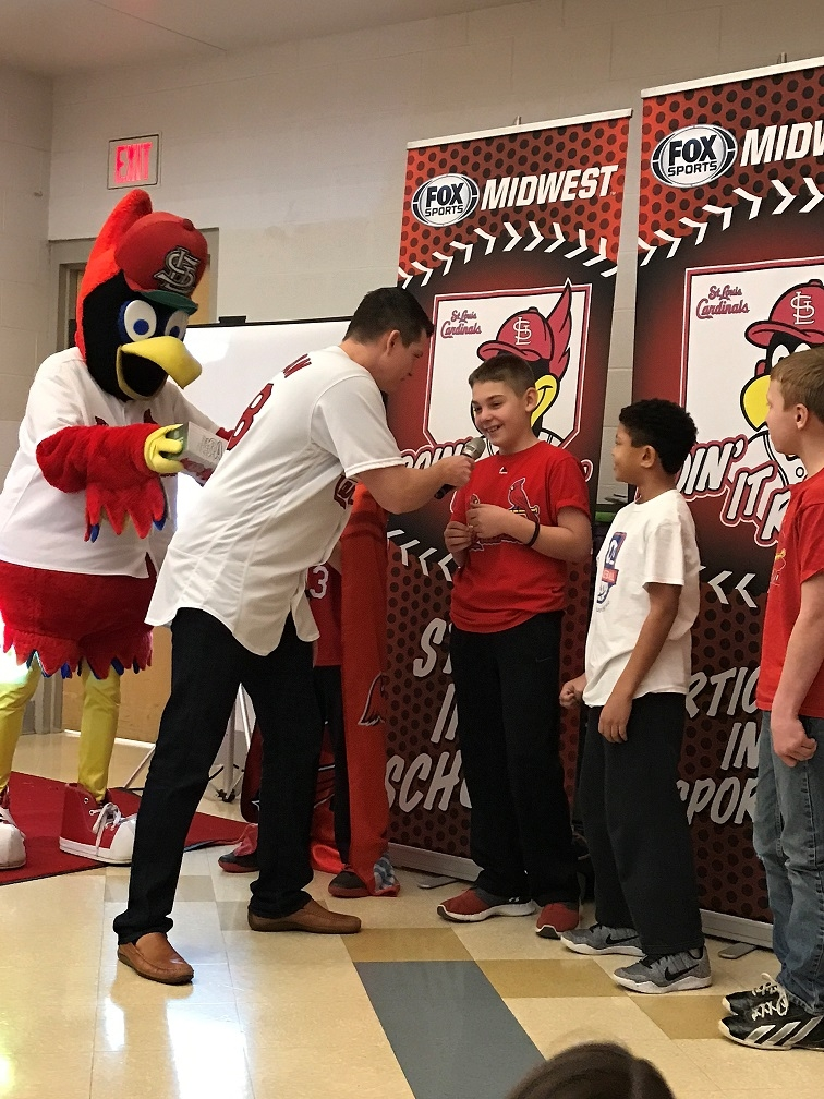 """VJHS gets visit from former Cards Pitcher and Fredbird for """"Doing It Right"""" program"""
