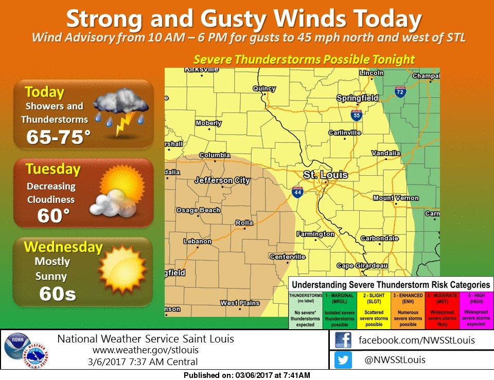 """Latest map from NWS shows """"slight"""" chance for severe storms in our area for tonight"""