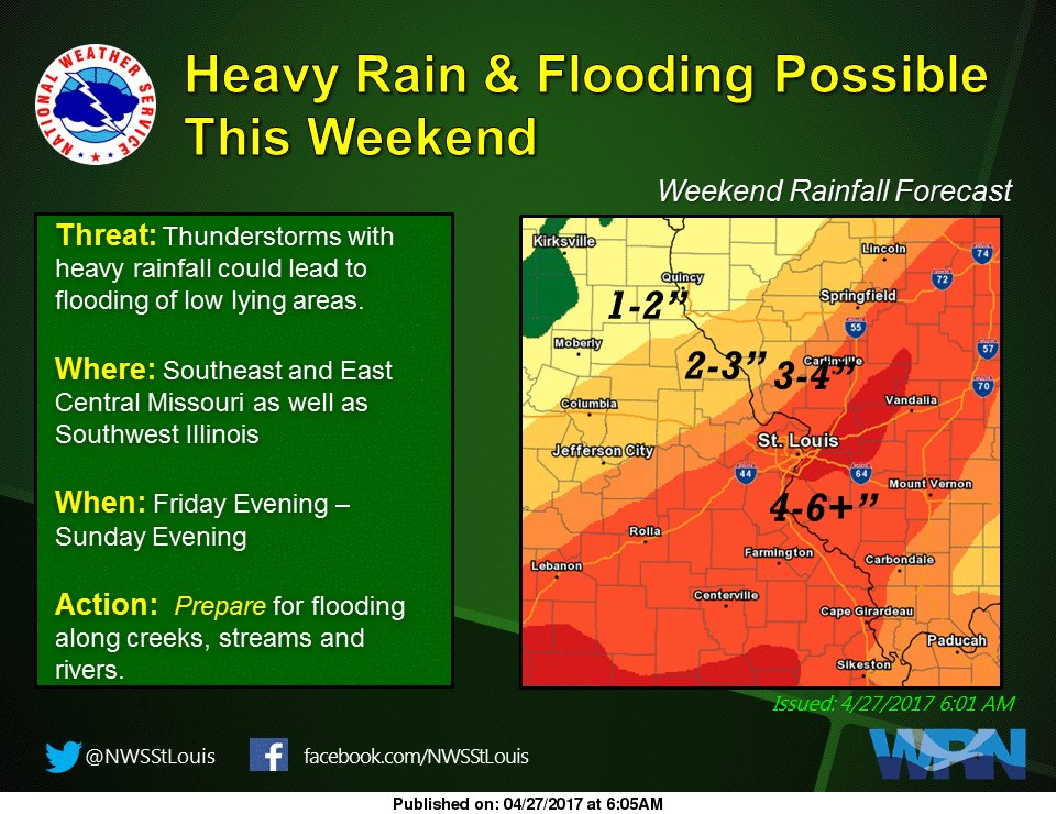 Heavy Rains on the Way for the Weekend, 4 to 6 inches for our area