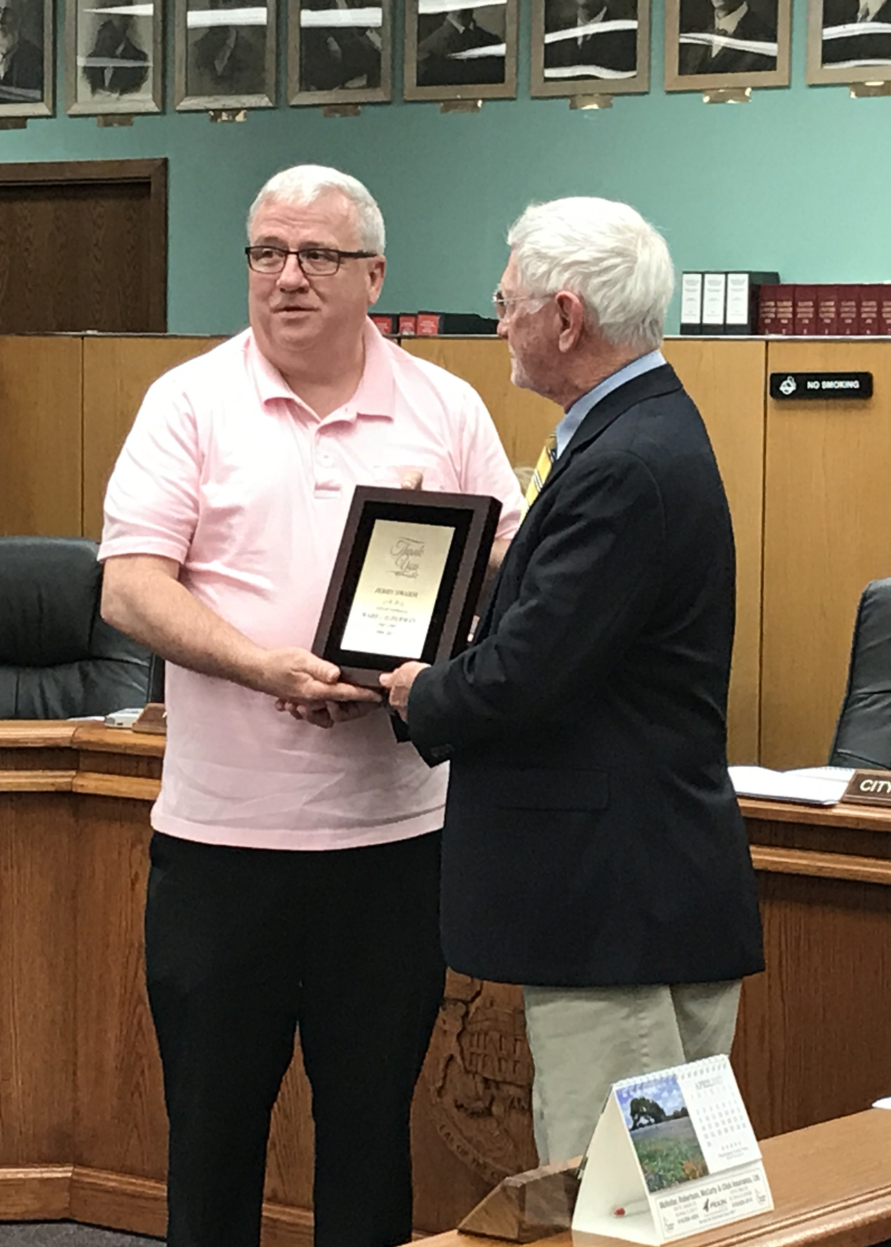 Vandalia Aldermen Jerry Swarm Honored At Council Meeting