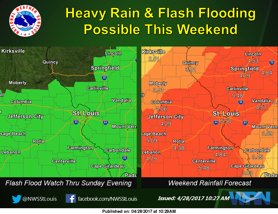 Heavy Rains for the Area All Weekend---latest map shows 4.5 inches of rain here