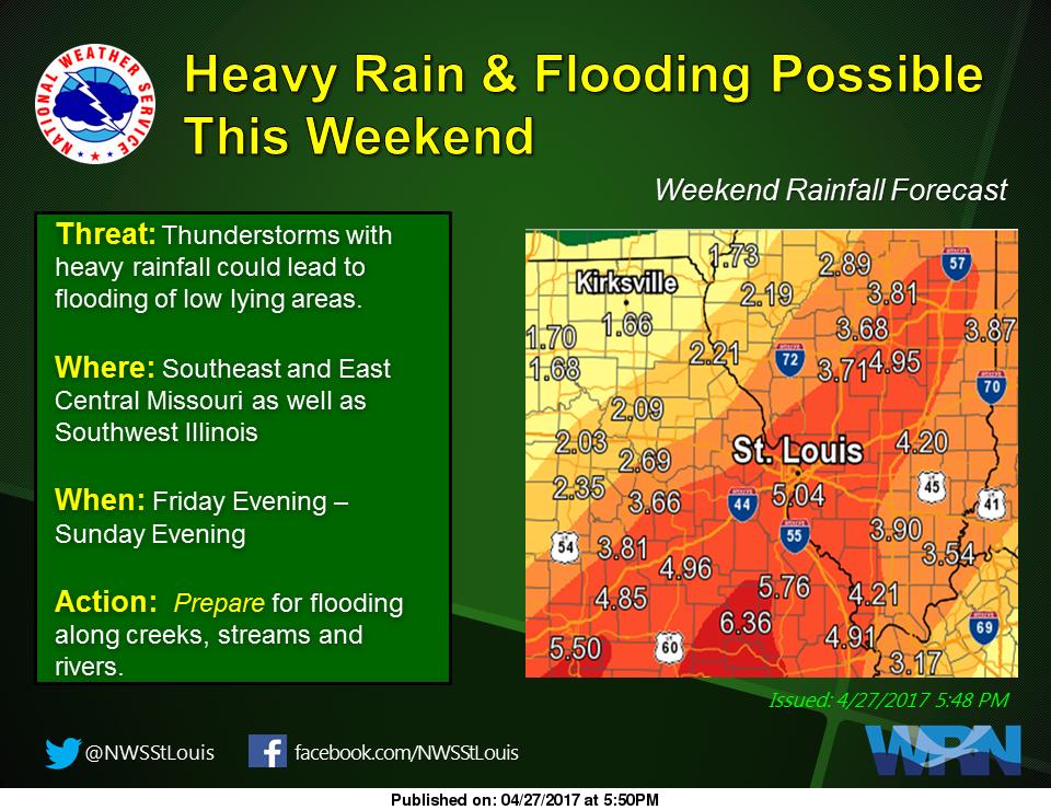 Flash Flood Watch beginning this evening and running thru Sunday night