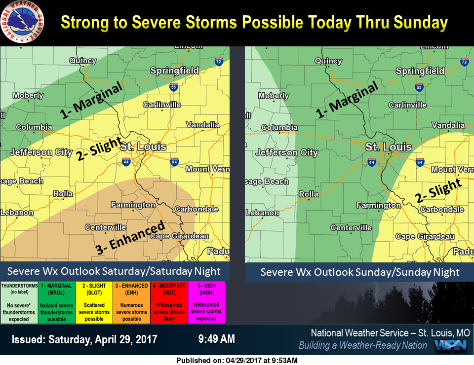 Along with the Heavy Rain, there is also a threat of Strong to Severe Storms thru Sunday