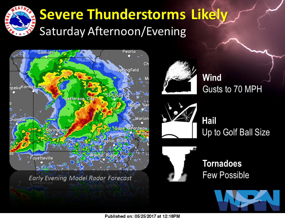 Storms in forecast for the weekend, severe storms possible on Saturday evening, night