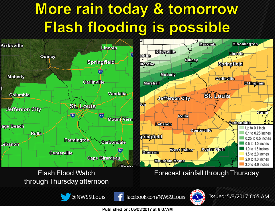Latest Predicted Rainfall Amounts from NWS---shows most of Fayette Co 2 to 3 inches