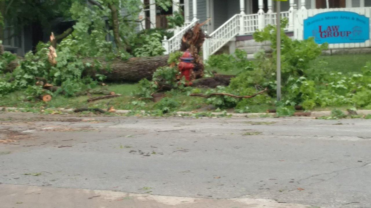 Clean Up continues today after powerful Sunday morning storm