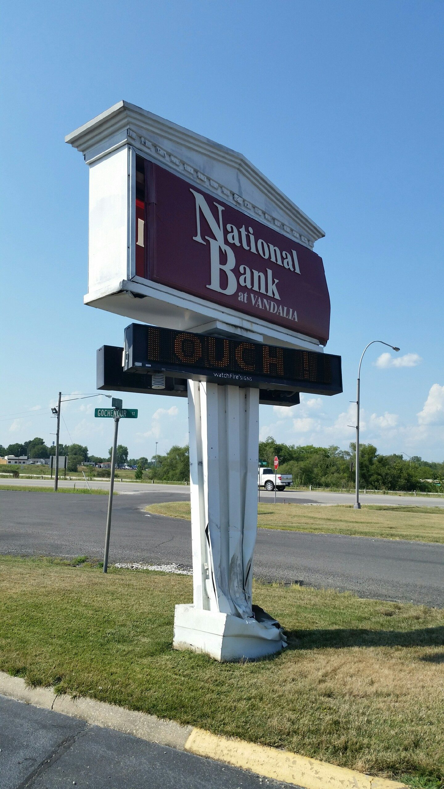 National Bank sign struck and damaged on Friday