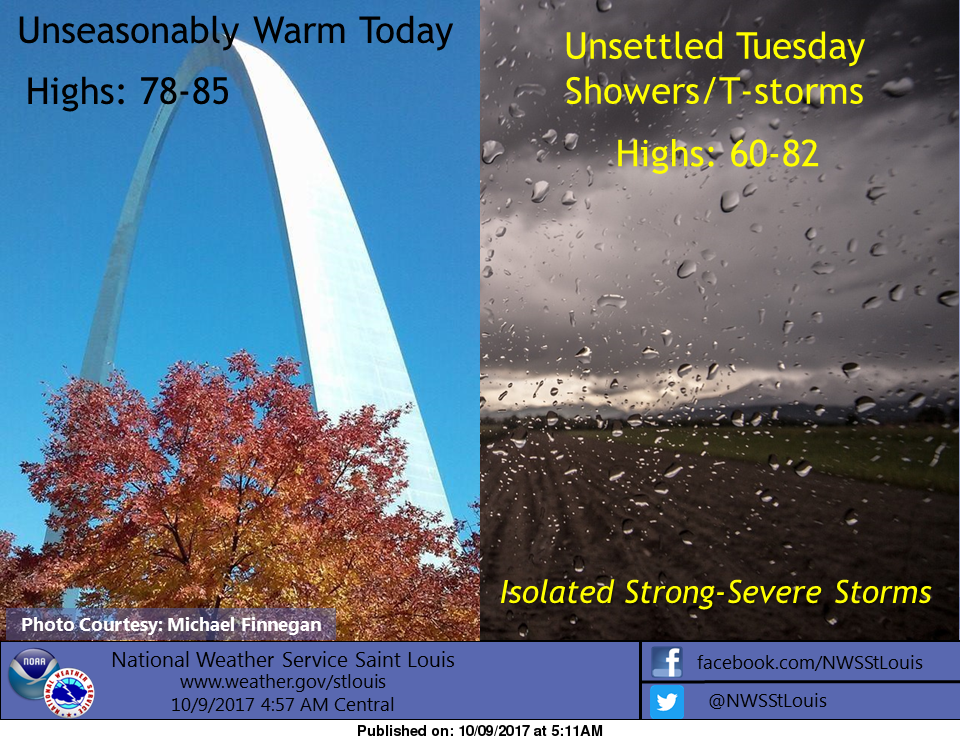 Sunny & Warm today, Showers and Storms tonight and tomorrow