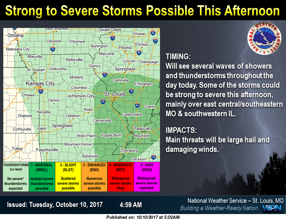 Showers & Storms today and tonight---strong to severe storms possible today