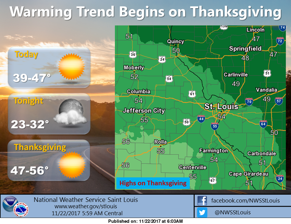 Mild Weather for Thanksgiving and the holiday weekend