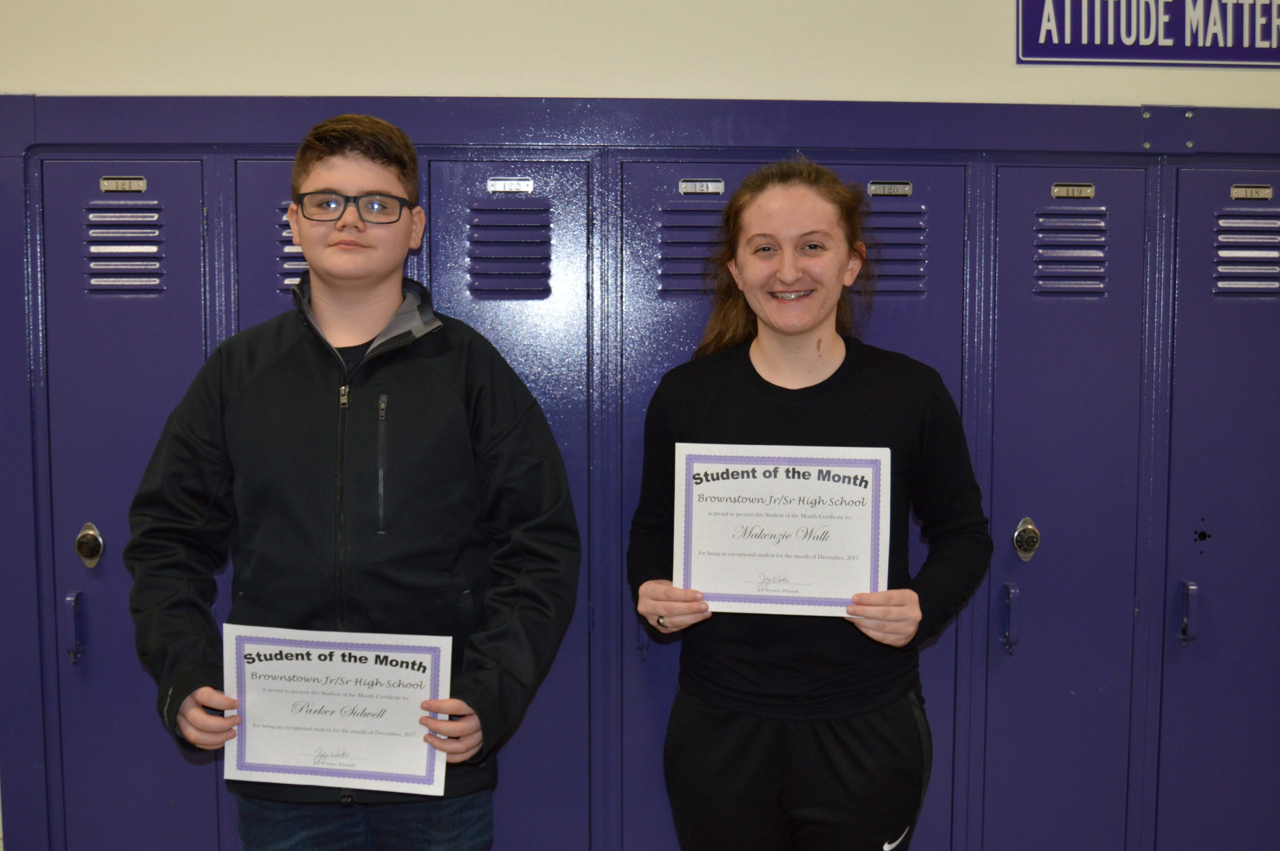 Brownstown HS Students of the Month For December