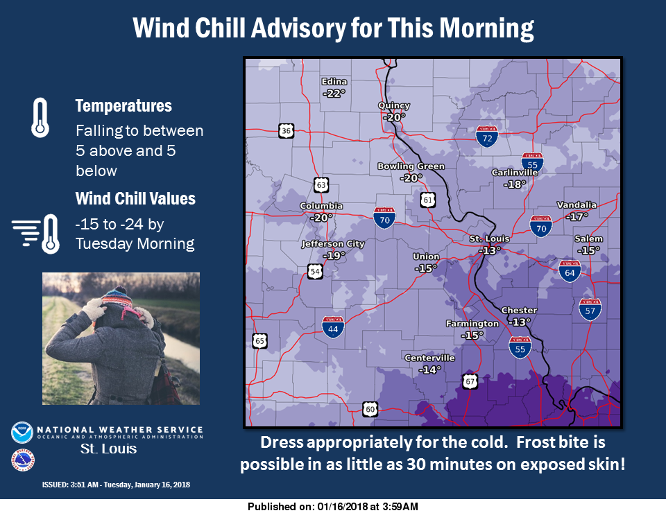 Wind Chill Advisory until Noon Today---Bitterly Cold today
