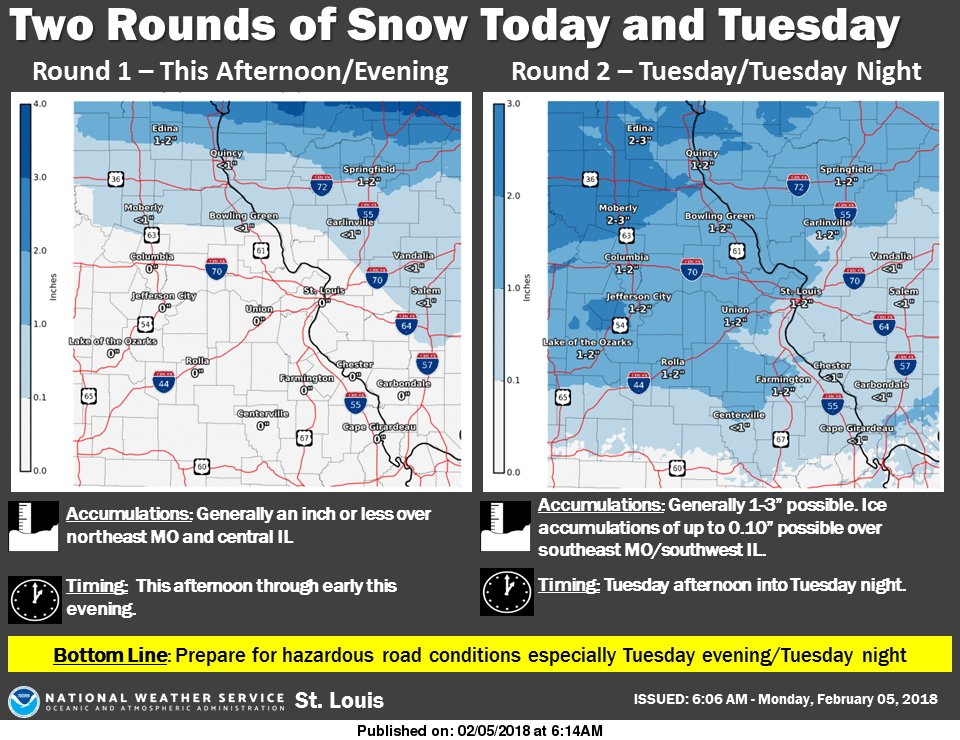 Cold and Snow for today and tonight, more snow for Tuesday night