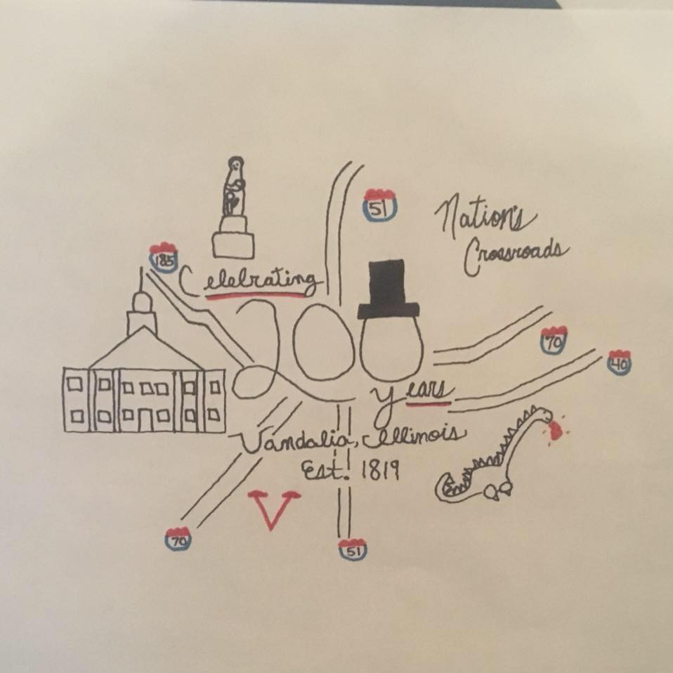 """Drawing by Leo Krueger selected as """"Family Friendly"""" Logo for Vandalia Bicentennial"""
