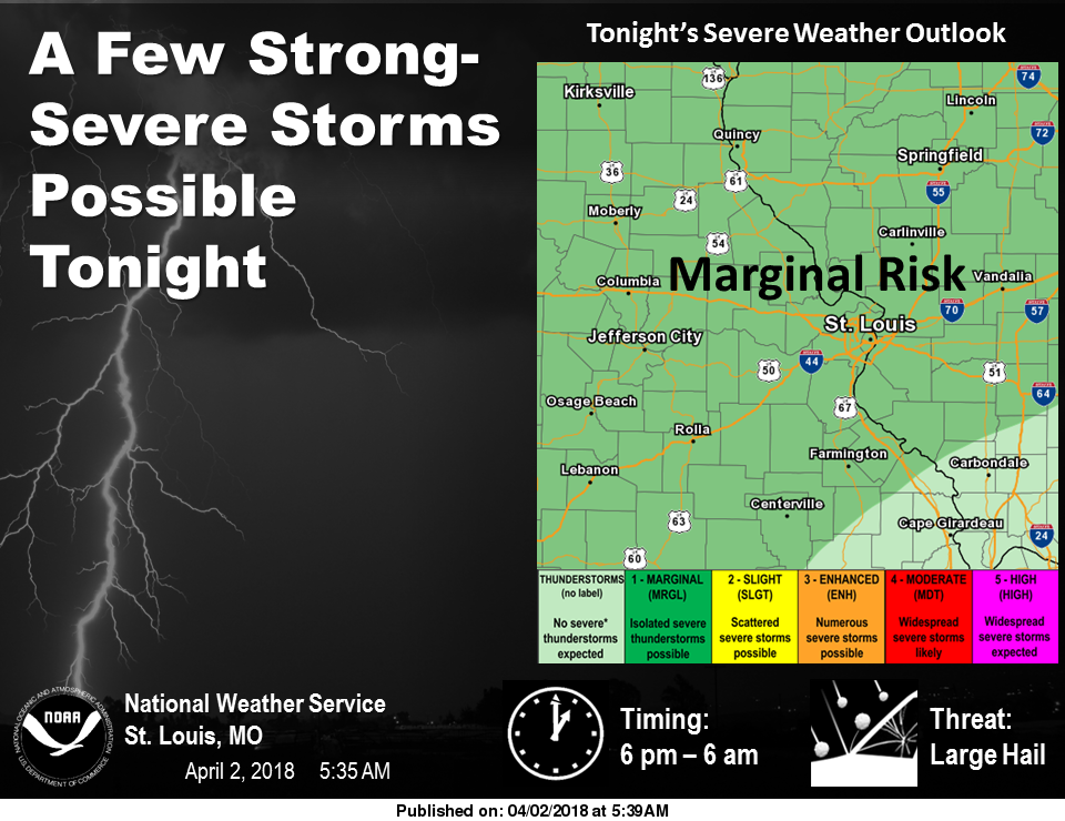 After Easter Snow, Severe Storms now possible Tonight