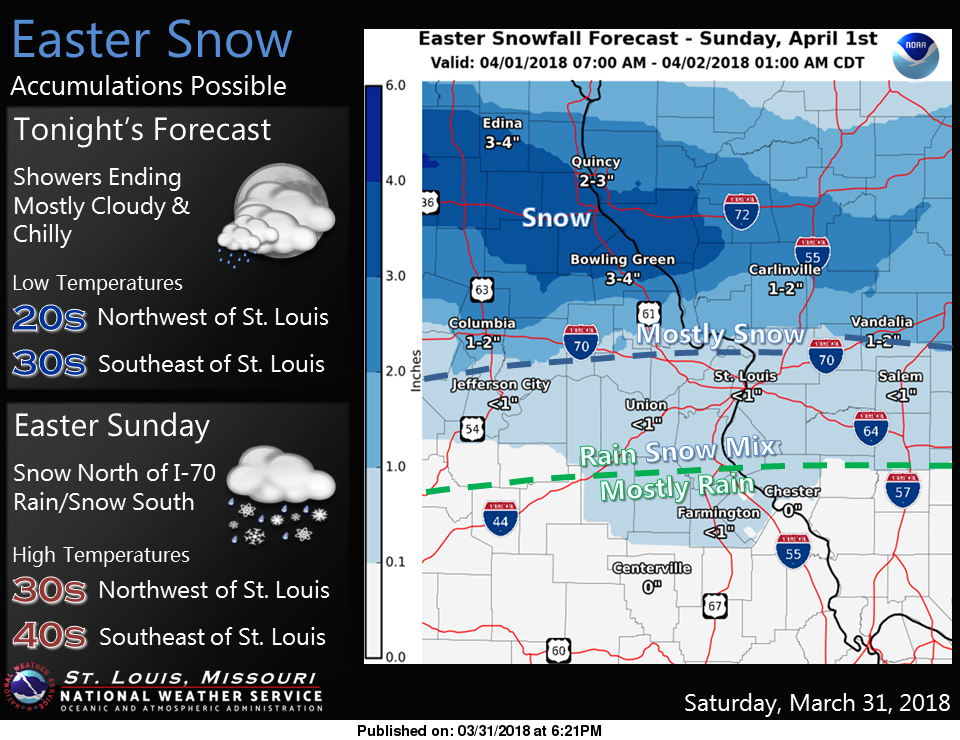 Easter Snow is on the way---1 to 2 inches for our area