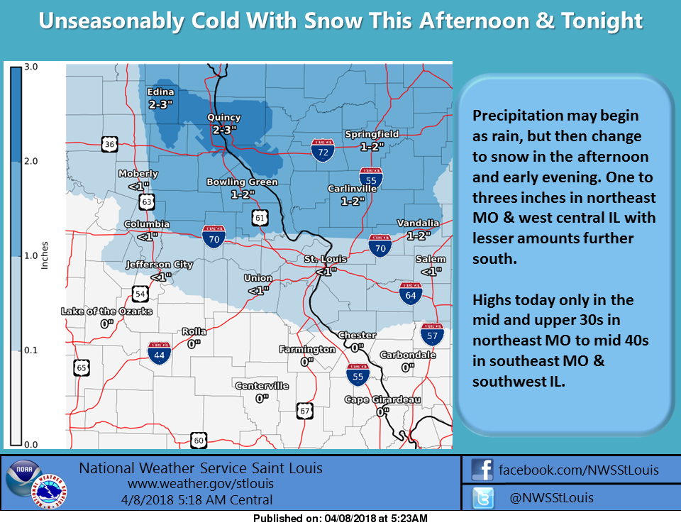 Temps in the 40s for today, snow on the way for tonight---up to one inch possible