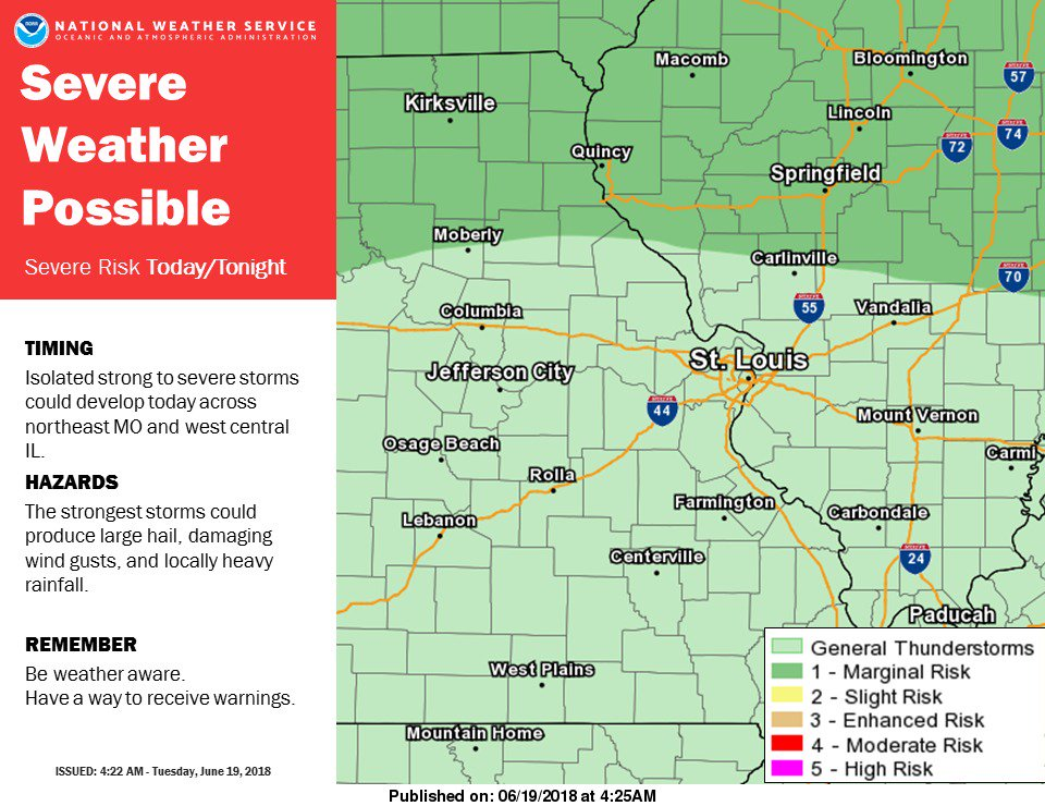A few strong to severe storms are possible today & tonight