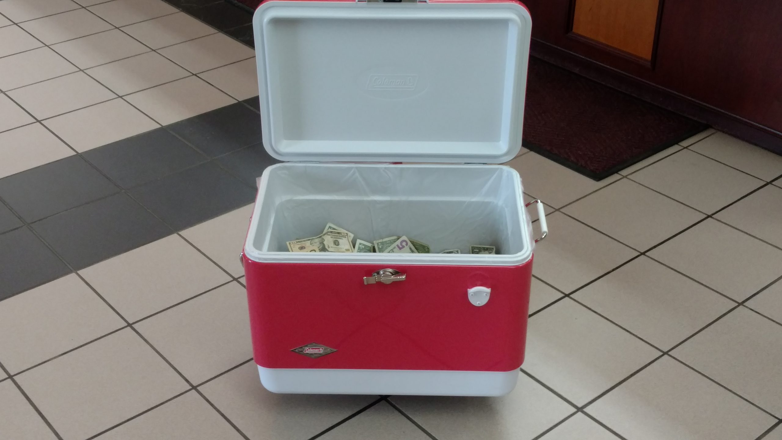 107 Pounds of Cash Update-----Money is now counted and in our Prize Cooler