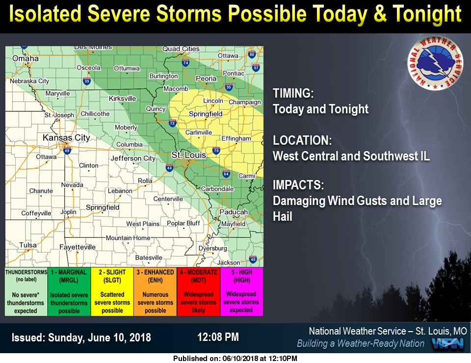 Isolated Storms possible this afternoon & tonight---update shows stronger chance for our area